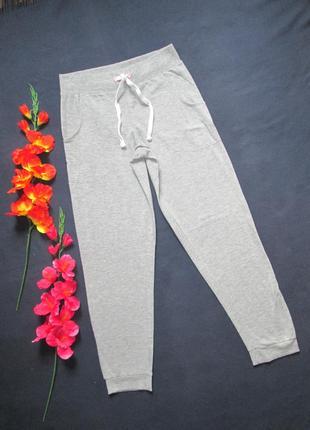 Трикотажные стрейчевые  домашние брюки спортивного типа серый меланж love to lounge