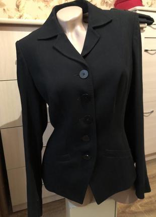 Итальянский шикарный черный пиджак 12uk жакет