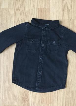 Джинсовая рубашка. размер 6-9 месяцев