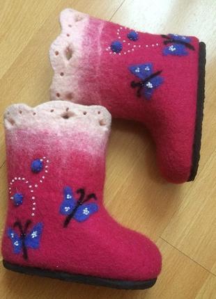 Валенки детские розовые сапоги из шерсти