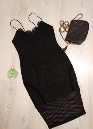 Стильное вечернее кружевное платье комбинация girl in mind