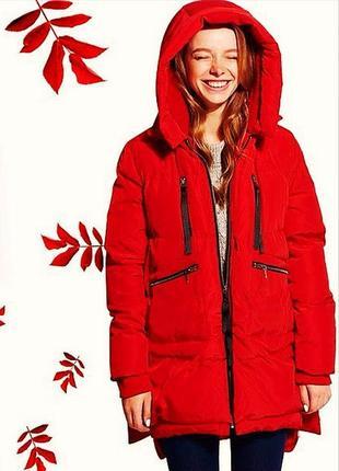 d4611a84b61 Трендовый красный пуховик куртка кокон парка с элементами декора lenmas  trade mark.