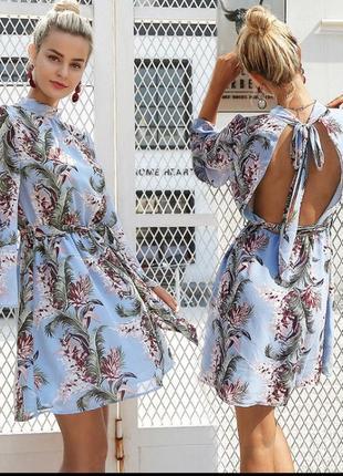 Платье  цветочный принт листья плаття