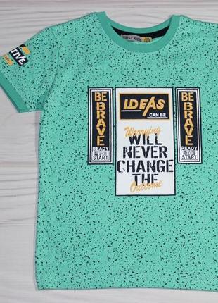 Хлопковая мятная футболка с надписями, турция