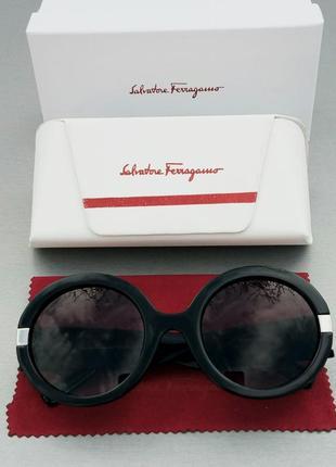 Salvatore ferragamo очки женские солнцезащитные круглые черные