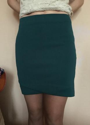 Юпочка юбка мини зеленая коттон