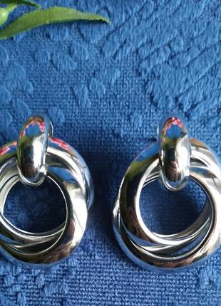 Серьги в стиле zara сережки серебро винтаж2 фото