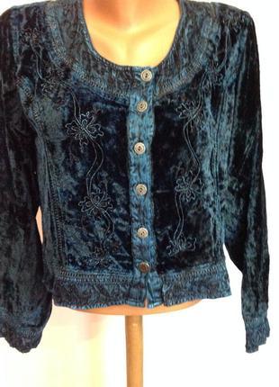 Темно синий оригинальный велюровый жакет- блуза. xl/ brend attire