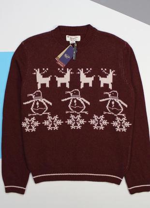 Крутейший шерстяной (70%) свитер с оригинальными принтом от penguin