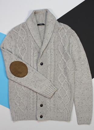 Кошерный свитер-кардиган с налокотниками и в цветную точку от george