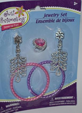 Новый набор серьги, кольцо и 2 браслета just pretending jewelry set оригинал сша