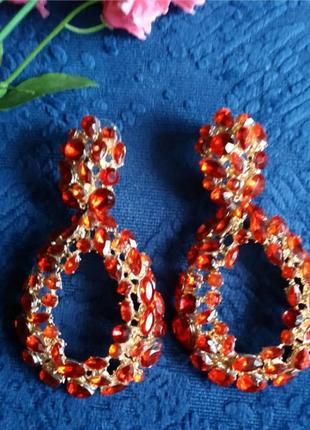 Серьги в стиле zara  сережки вечерние красные