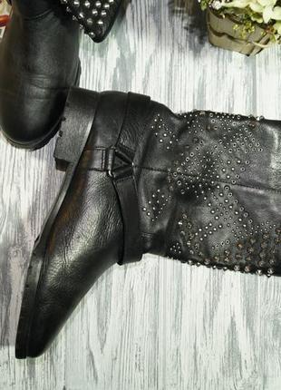 Zara. кожа. крутые ботинки на низком ходу6 фото