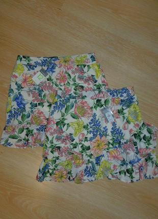 Летняя юбка с воланами шифон 12 рр в цветах