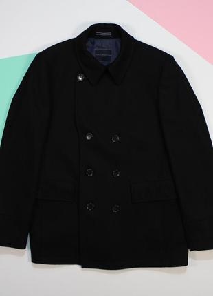 Солиднейшее оригинальное двубортное шерстяное пальто от tommy hilfiger