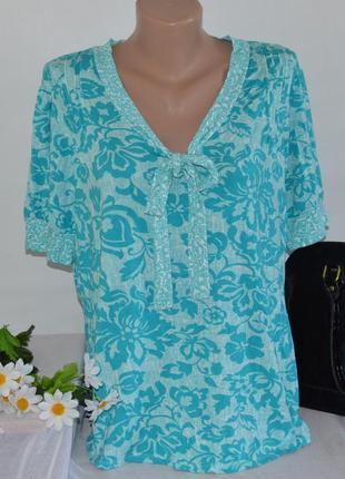 Брендовая блуза с коротким рукавом bm турция вискоза принт цветы