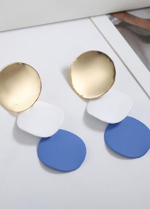 Обнова! серьги серёжки комбинированные золото с матовыми деталями синий иний