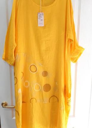 Платье лен летнее большой размер оверсайз2