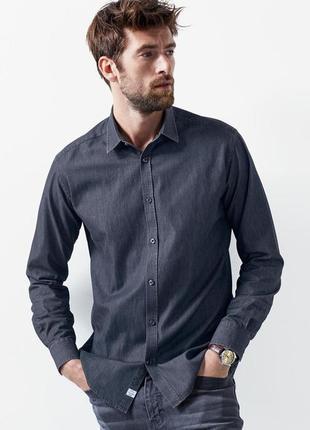 Стильная мужская рубашка под джинс tcm тchibo из высококачественного хлопка