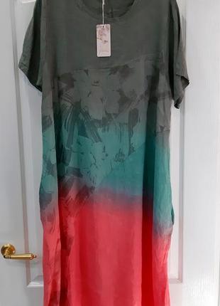 Платье летнее лен большого размера2