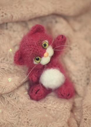 Брелок для сумки розовый котенок
