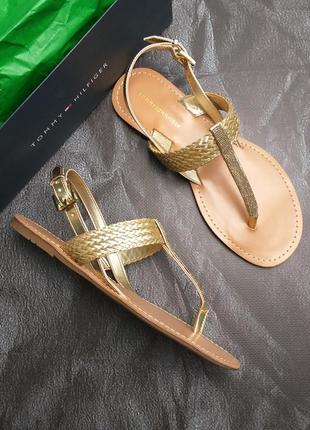 Tommy hilfiger оригинал сандалии босоножки римлянки золотистые бренд из сша