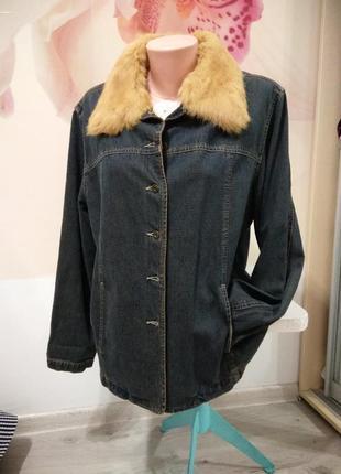 Фирменный жакет женский. джинсовая куртка с меховым воротом. британия . joy.