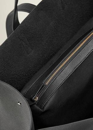 Черная сумка-шопер с ремешком манго mango италия4 фото