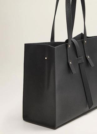 Черная сумка-шопер с ремешком манго mango италия5 фото