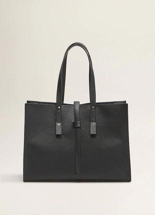 Черная сумка-шопер с ремешком манго mango италия