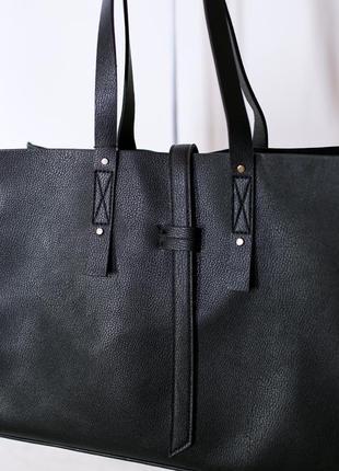 Черная сумка-шопер с ремешком манго mango италия6 фото