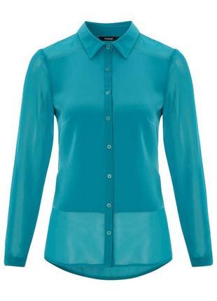 Ярко голубая рубашка с шифоном рр 16