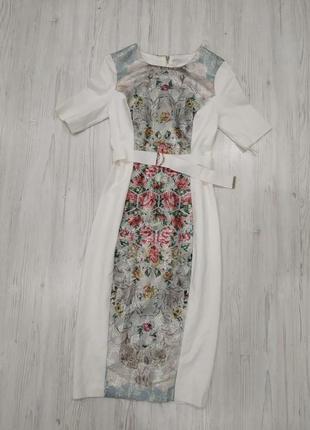 Стильное платье миди футляр со вставкой в цветы7 фото