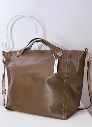 Коричневая сумка-шоппер натуральная кожа сумочка италия