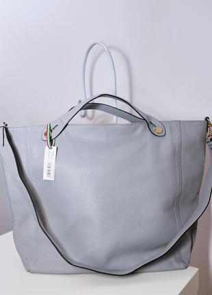 Больша серая сумка-шоппер натуральная кожа сумочка италия
