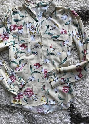 Вискозная рубашка в тюльпаны цветы