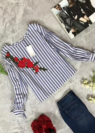 Стильная блуза прямого кроя в полоску с вышивкой  bl1916100  mango