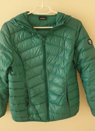 Ультра тонкий куртка пуховик аквамаринового цвета colors of the world