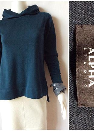 Alpha studio тонкий джемпер с капюшоном из гладкой мериносовой шерсти