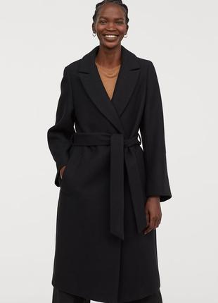 Пальто из смесовой шерсти h&m premium quality 36/s шерсть