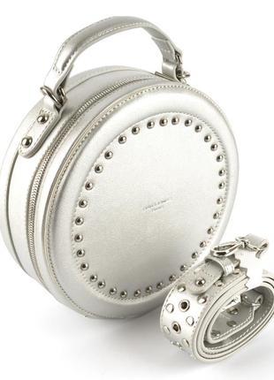 Круглый клатч, сумка через плечо david jones 3585 серебро1 фото