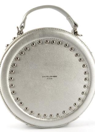 Круглый клатч, сумка через плечо david jones 3585 серебро2 фото