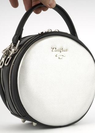 Круглый клатч на два отделения, сумка через плечо david jones 5952 серебро