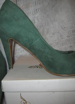 Туфли лодочки, зеленого цвета, стильные туфли лодочки, туфли с удобным каблуком