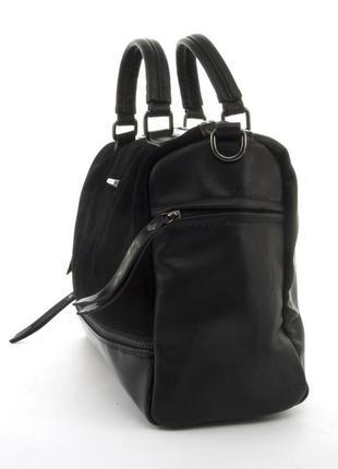 Женская сумка со вставкой из натуральной замши 68852 черная3 фото