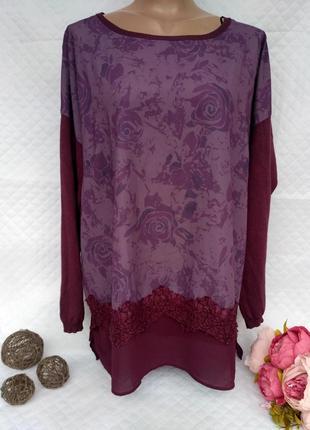 Шикарный джемпер-свитшот  в цветы с кружевом размер 18-20 (50-54)
