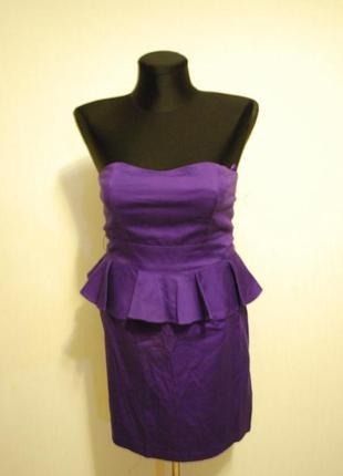 Коктейльное платье с баской фиолетовое new look. размер 10