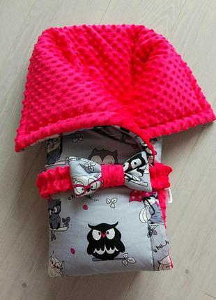 Одеяло-конверт owls pink&grey