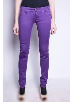 Облегающие хлопковые брюки женские madhouse  фиолетовые