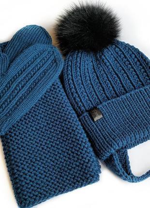 Комплект шапка снуд варежки рукавички из 100% мериносовой шерсти